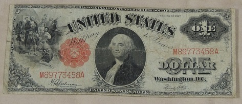1917 United States One Dollar Bill *WWI Era $1