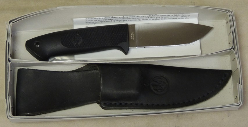 "Beretta Loveless 3 1/2"" Drop Point Fixed Blade Knife & Sheath NI"
