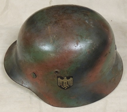 German WW2 Tri-Color Normandy Nazi M1935 Helmet