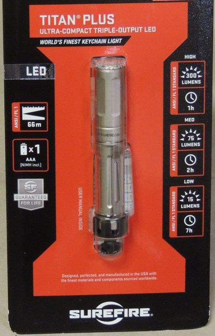 Surefire Titan Plus Ultra-Compact Triple-Output 300 Lumen LED Fl